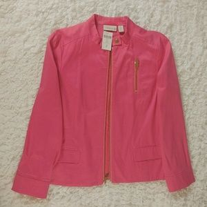 NWT Chicos soft pink/coral lined Moto jacket